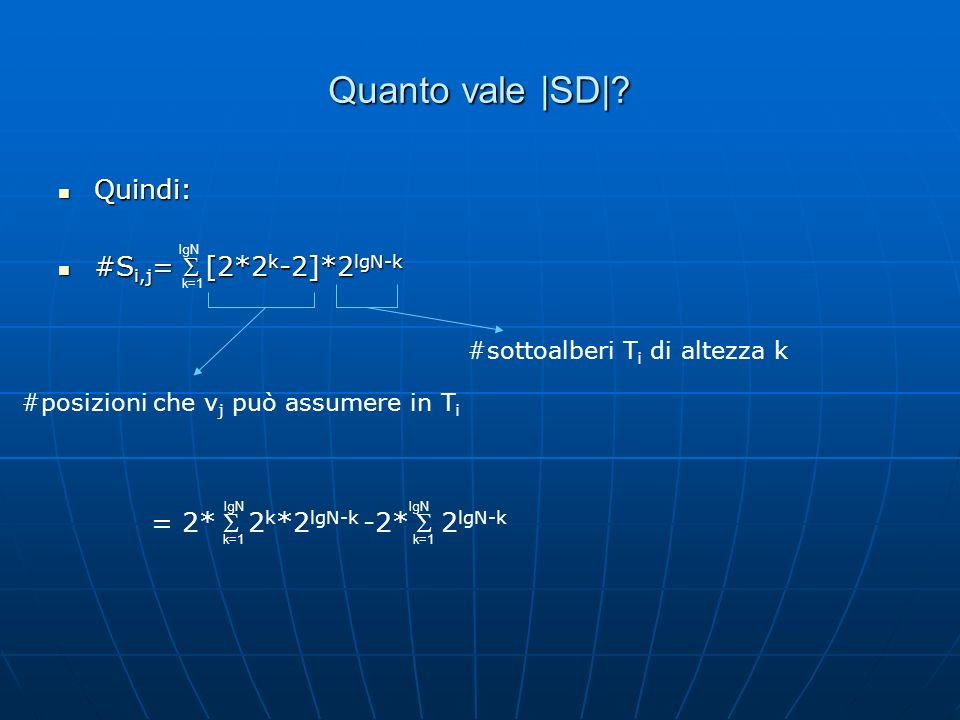 Quanto vale |SD| Quindi: #Si,j= S [2*2k-2]*2lgN-k